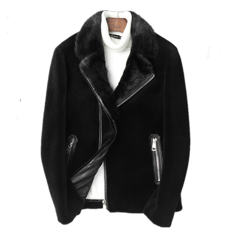 2020 Real Sheep Shearling Fur Coat Winter Jacket Men Mink Fur Collar Real Wool Coats Streetwear Warm Jackets L18-3803 MY1764
