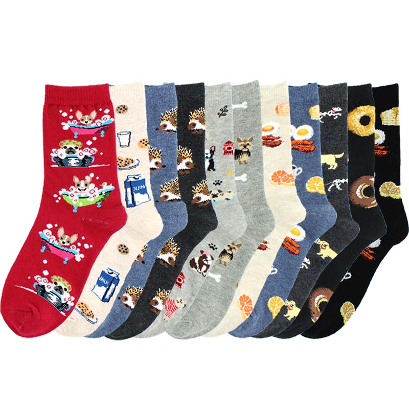 [SOPLCAALCK]Harajuku Funny Socks Women Creative Hedgehog Dog Breakfast Egg Cute Socks Calcetines Mujer Divertido Lovely Sokken