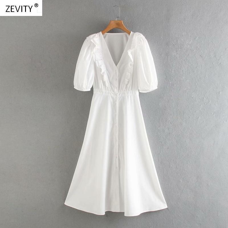 2020 women fashion solid color v neck ruffles shirt dress chic female puff sleeve button vestido casual slim midi dresses DS3832