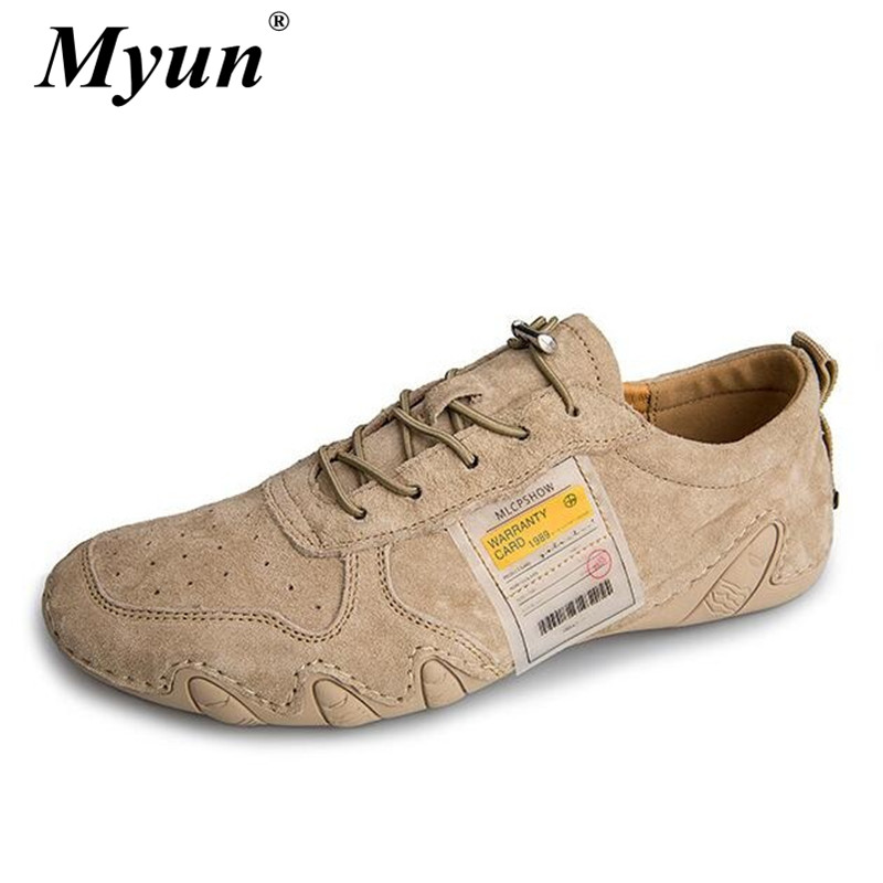 Big Size 38-46 New High Quality Men's Lace-Up Casual Shoes 100% Genuine Leather Flat Driving Shoes Male Suede Business Shoes