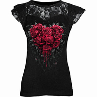 Gothic Punk Plus Size Black Graphic Lace Rose T-shirts Women Y2K Clothes Grunge Short Sleeve Hollow Out Tshirts Tee Tops 5XL 1