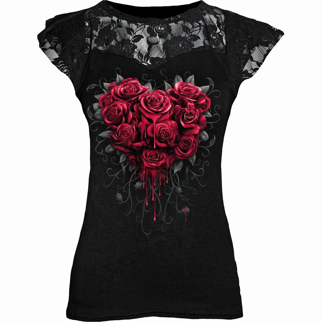 Gothic Punk Plus Size Black Graphic Lace Rose T shirts Women Y2K Clothes Grunge Short Sleeve Hollow Out Tshirts Tee Tops 5XL