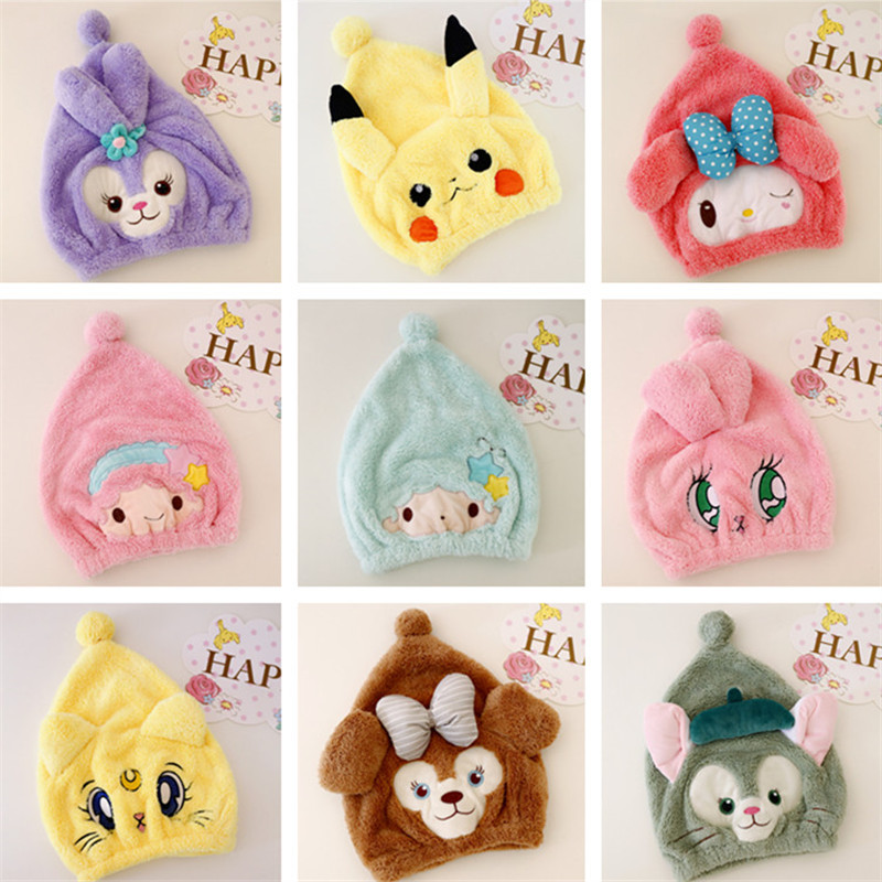 Cute cartoon dual-use dry hair cap plushie Pikachu water absorption quick-drying wipe head toys for girls home decor free stuff