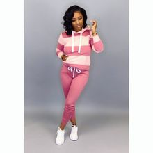 Two-piece set women hooded sexy striped stitching Slim sports suit running casual fitness two-piece Large size gym