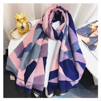 Winter Cashmere Scarf for Women Geometric Print Shawls and Wraps Warm Pashmina Poncho Patchwork Scarfs Neck Scarves For Ladies chic skulls and stripes pattern voile pashmina for women