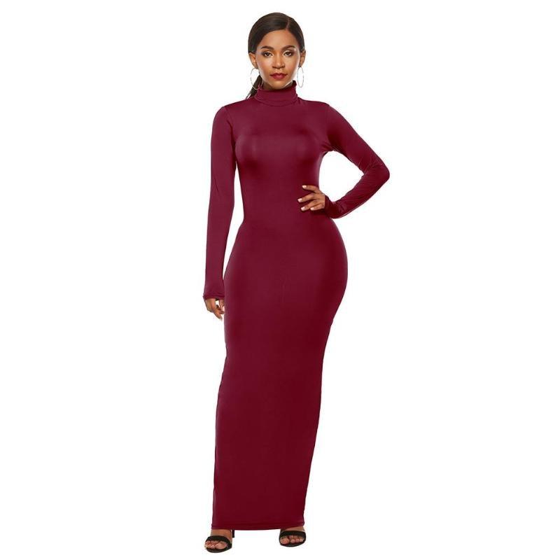 Fashion Women Sexy Long Sleeve High Neck Solid Bodycon Elastic Maxi Dress