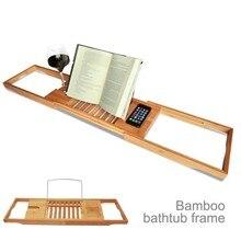 Расширяемая бамбуковая рама для ванной, водонепроницаемый лоток для ванной мобильного телефона, планшета, полка для чтения, подставка для ванной