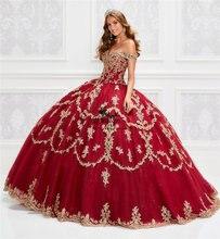Великолепная с открытыми плечами Бальные платья золотыми аппликация