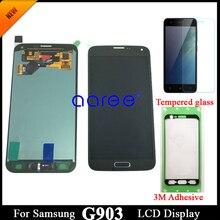 لاصق + 100% سوبر AMOLED لسامسونج S5 NEO LCD G903F Disaplay LCD شاشة مجموعة رقمنة اللمس المنزل زر