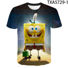 2021 summer new 3D printing T-shirt yellow sponge animation casual style large size small size wholesale
