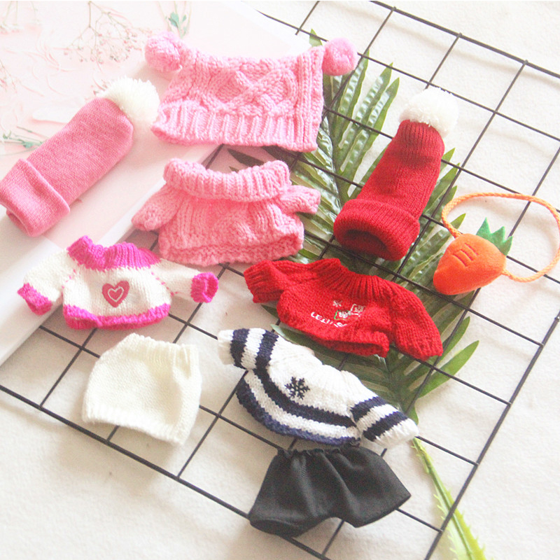 Korea Kawaii Stuffed Doll Overalls Jumpsuit Hat Pants Bag Plush Toys Knit Clothes Baby Doll Accessory Cotton Christmas Gifts