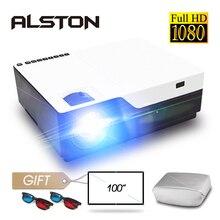 جهاز عرض ALSTON M18 Full HD 1080P بدقة 4K 5500 لومن بروجيكتور سينما متعاطي المخدرات يعمل بنظام الأندرويد واي فاي وبلوتوث hdmi VGA AV USB