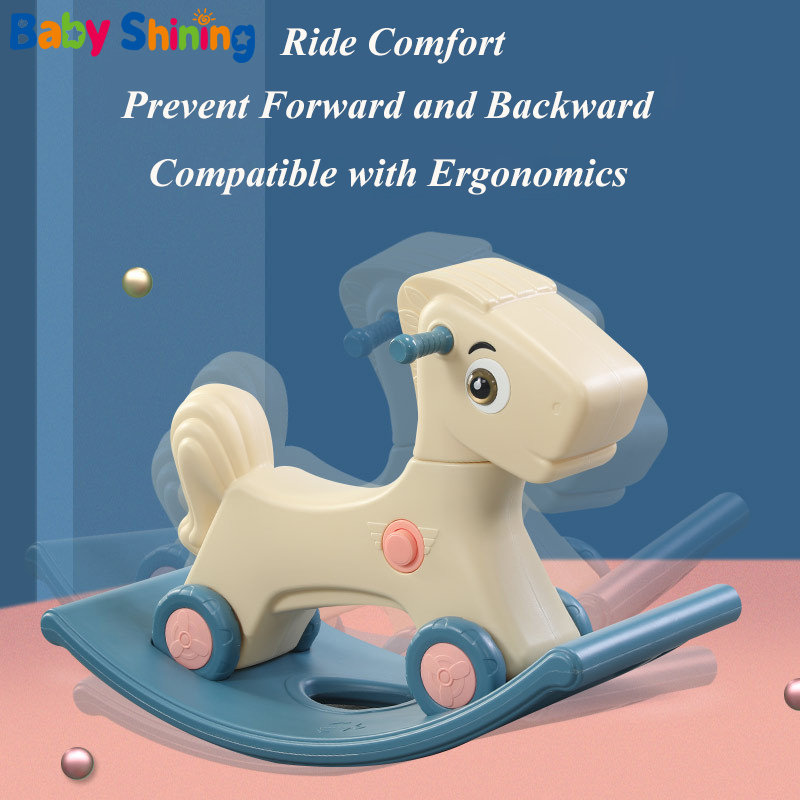 Baby Shining Children Rocking Horse 0-3 Years Old Baby Indoor Ride on Toys 2-In-1 Multifunction Rocking Horse and Scooter Toys