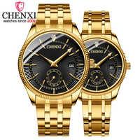 CHENXI, moda novedosa, relojes creativos para mujer y hombre, reloj de cuarzo, relojes de pulsera dorados para amantes, relojes de lujo de marca, relojes para hombre