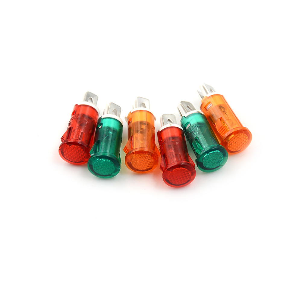 10pcs Signal Indicator Lamp Panel Mounting Neon Red Green Yellow Lights 220V 110V 12V/24VDC 10mm MDX-11A Pilot Guiding