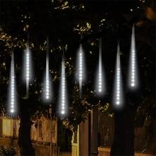 Meteor Dusche Nacht Licht Outdoor Solar Beleuchtung Sterne Lampe Streifen Lampara Dekoration Chrismas Wasserdichte Park Straße Baum Lichter