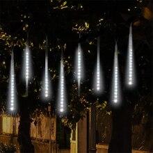 Meteor Shower lampka nocna zewnętrzne oświetlenie słoneczne lampa gwiezdna taśma Lampara dekoracja Chrismas wodoodporny Park Street lampki choinkowe