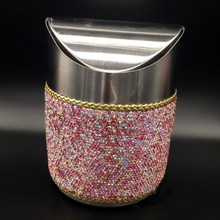 Stainless Steel Mini Car Waste Bins Bling Bling White Pink Crystal Home Office Storage Box