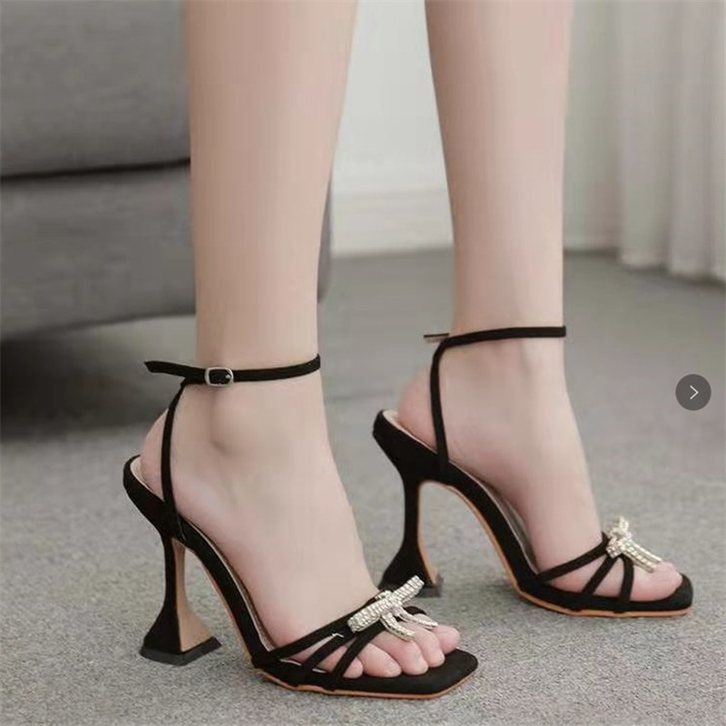 Women's Sandals 2021 Ankle Strap Sexy Square Toe Butterfly-knot Crystal Design Transparent Heel Shoes Stiletto Wedding Shoes
