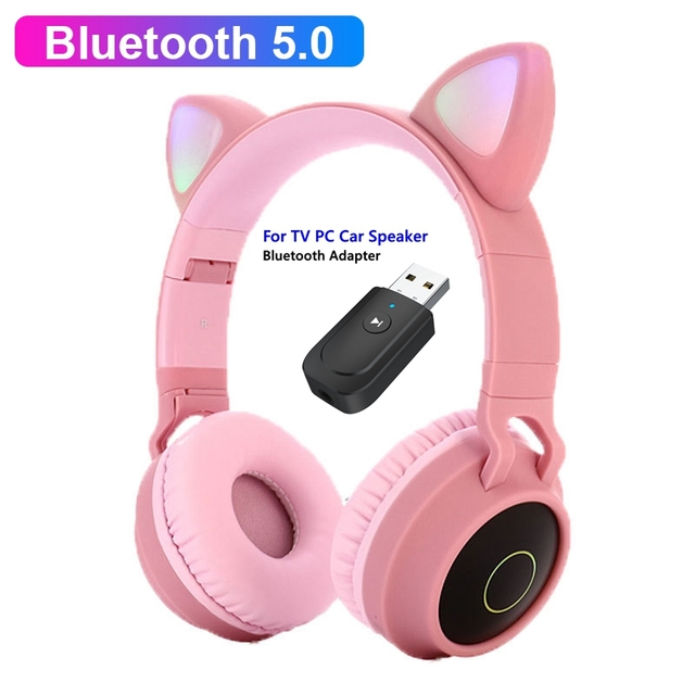 Cute Cat LED Bluetooth 5.0 Headphone With TV PC Car Laptop Bluetooth Adapter Wireless Noise Cancel Music Helmet For Kid Girl