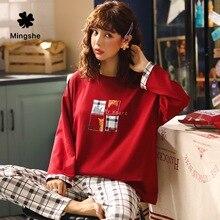 MS, Женский пижамный комплект, милые пижамы с длинными рукавами, повседневная домашняя женская пижама, весенне-осенняя НОВАЯ тонкая Пижама с мультяшным принтом