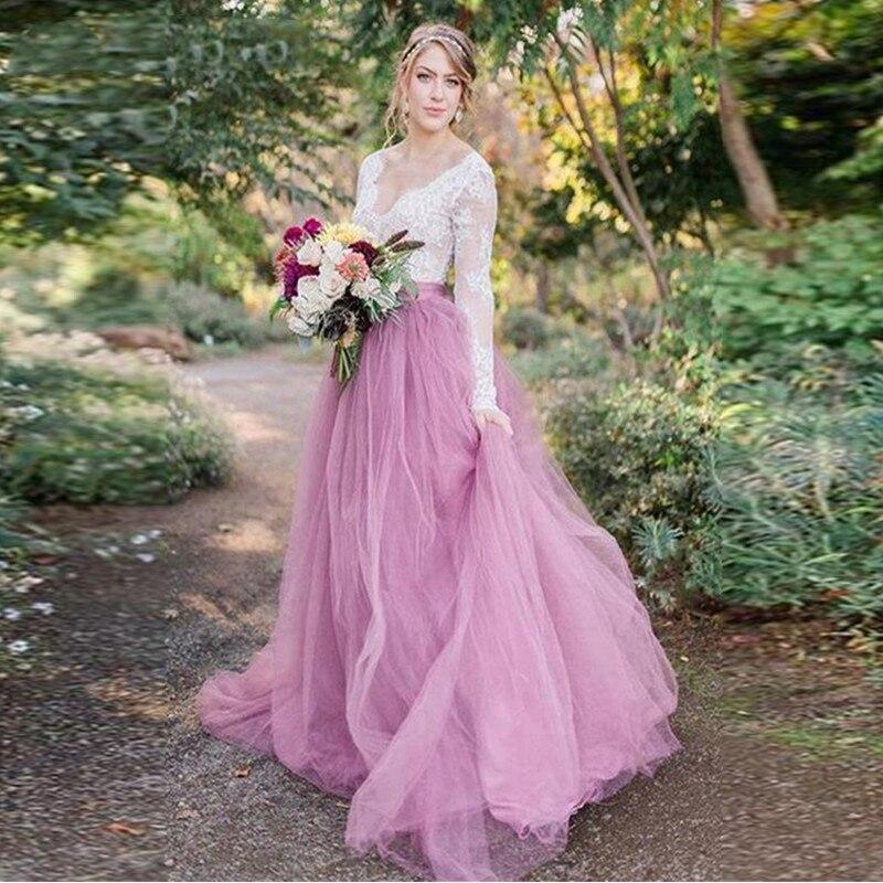 LORIE 2019 Beach Wedding Dresses Tulle Lace Appliques Bridal Gowns Simple Bodice Wedding Dress Vestidos De Novia Custom Made