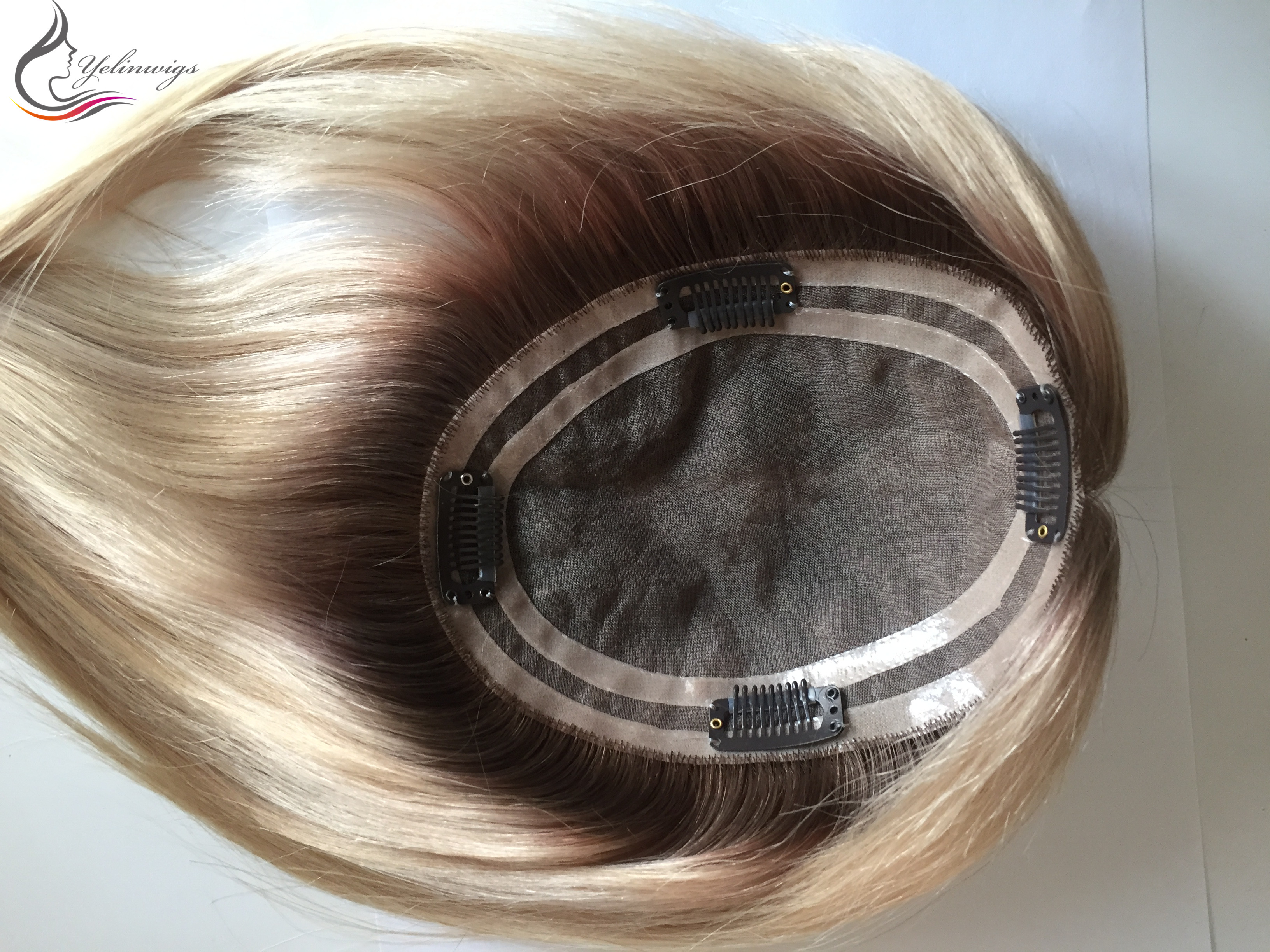 Blonde Color Dark Rooted European Virgin Hair Full Hantied Mono Base Topper Hair Pieces For White Women