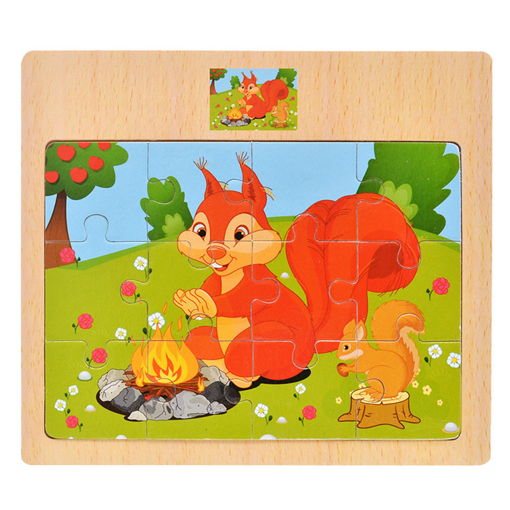 12 Pieces Early Education Puzzle Wooden 3D Puzzle Jigsaw Toys Kids Baby Cartoon Animals Learning Educational Toys Children Gift