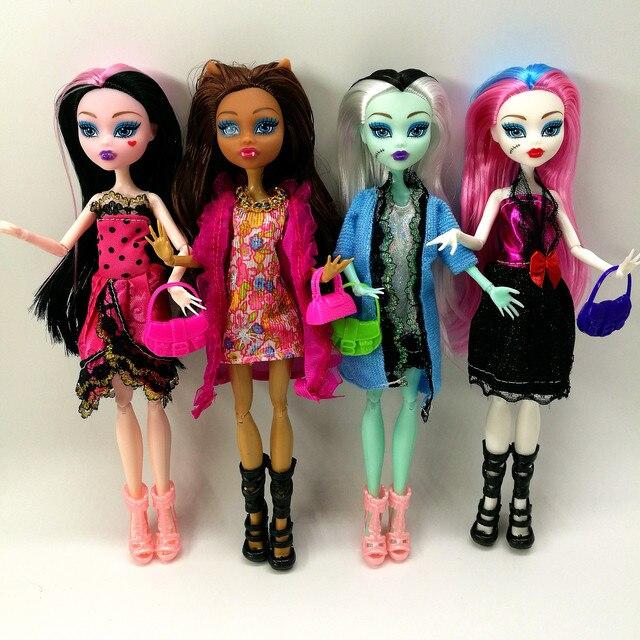 Ensemble de 4 poupées pour filles, pas de boîte, haut, corps, jouet, monstre amusant, haut, mobile, nouveau Style, meilleur cadeau