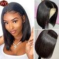 Волосы SVT 13X4, Remy, Короткие парики, парики из человеческих волос, парики боб на сетке спереди для женщин, дешевые бразильские волосы, прямые па...