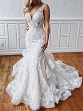 Лидер продаж свадебное платье с каскадными оборками и аппликацией
