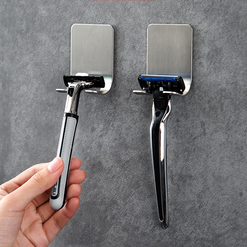 Razor Stainless Steel Holder Bathroom Wall Men Shaver Shelf  Toothbrush Rack Wall Adhesive Storage Hook Kitchen Hanger