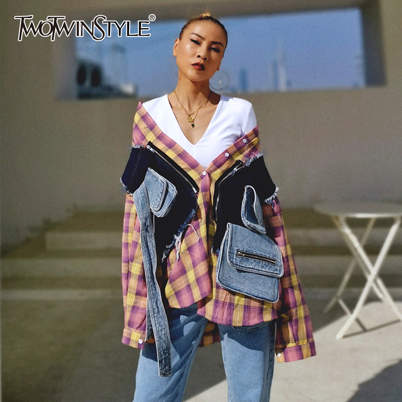 TWOTWINSTYLE Casual Two Piece Set Female Lapel Collar Long Sleeve Plaid Blouse Patchwork Hit Color Vest Irregular Suit For Women
