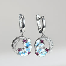 Women 925 Silver Delicate Enamel Blue Butterfly Drop Earrings Wedding Party Gift(China)