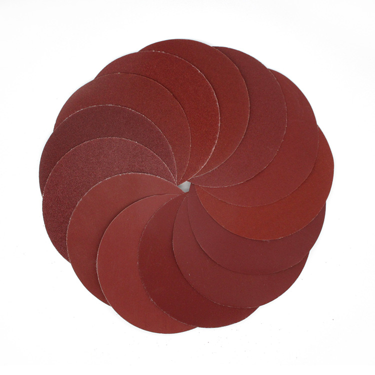 5-Inch 125MM Red Sand Flocked Woven Nap Round Plates SNAD Paper Disk Polishing Pad Polishing Sandpaper Round Sandpaper