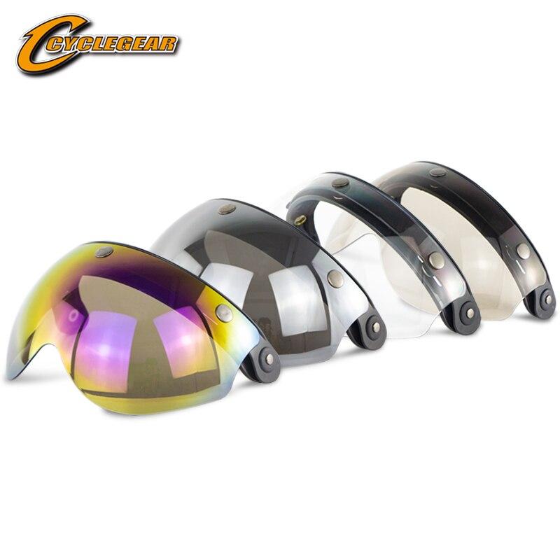 W Form Motorrad Blase Visier für Offene Gesicht Helm Casco Moto Windschutzscheibe Retro Capacete Schild Objektiv