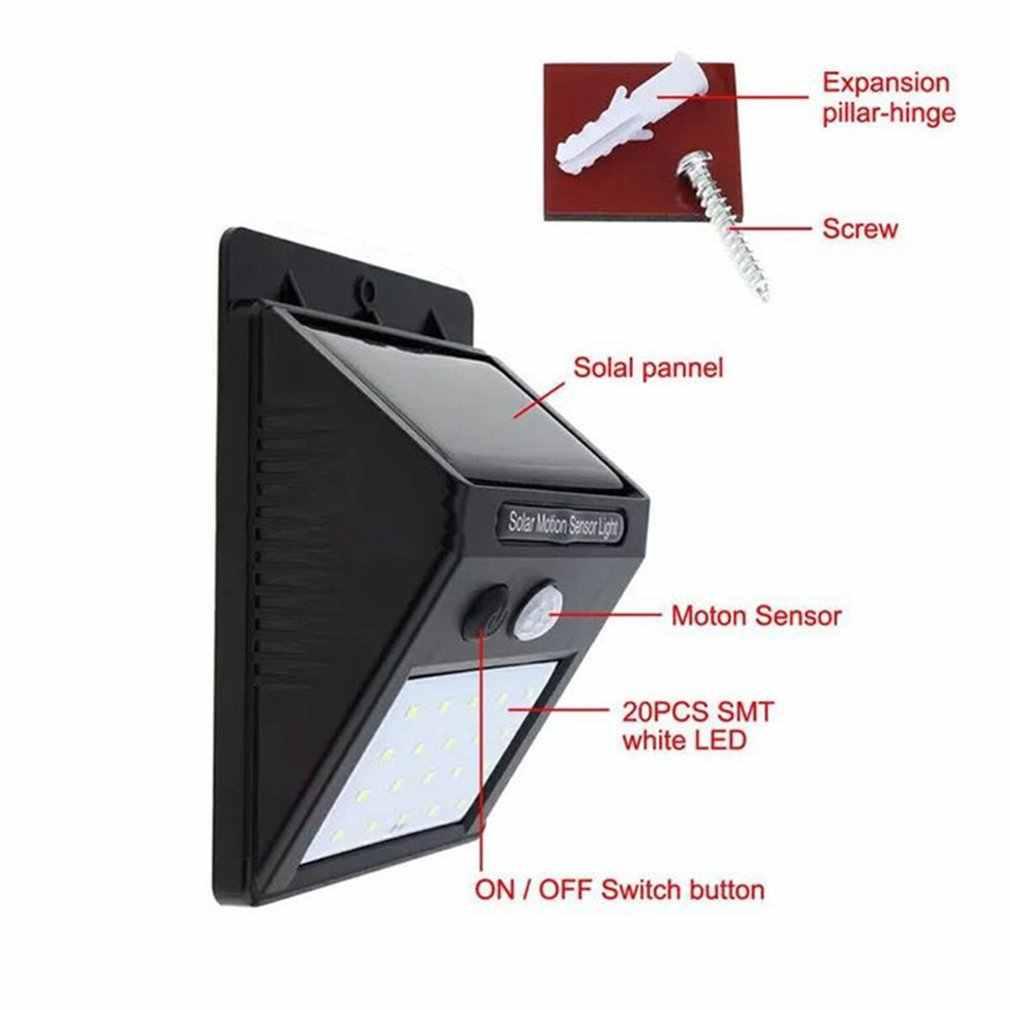 กันน้ำ 20 LEDพลังงานแสงอาทิตย์ไฟMotion Sensorโคมไฟติดผนังสวนกลางแจ้งโคมไฟ