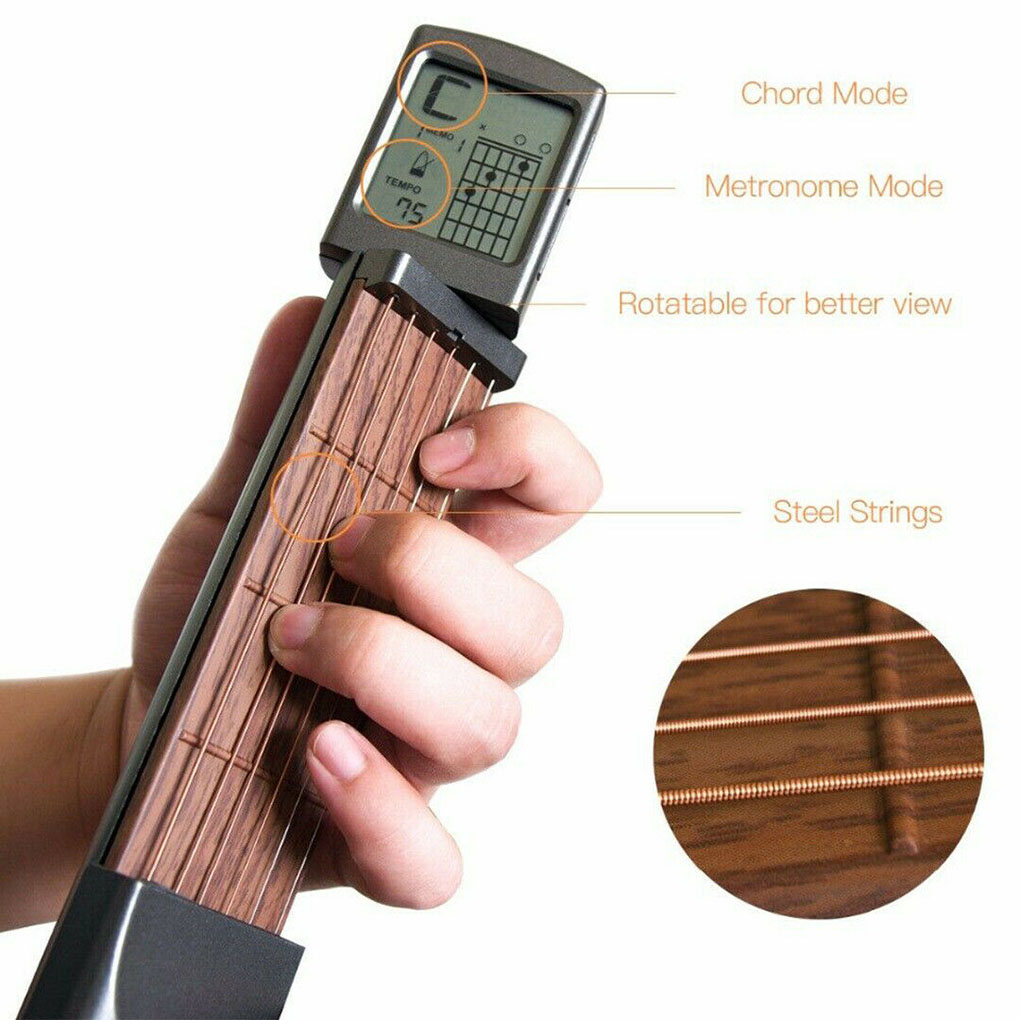 Portable Digital Guitar Chord Trainer Pocket Chords Practice Tool Beginner with Rotatable Chords Chart image