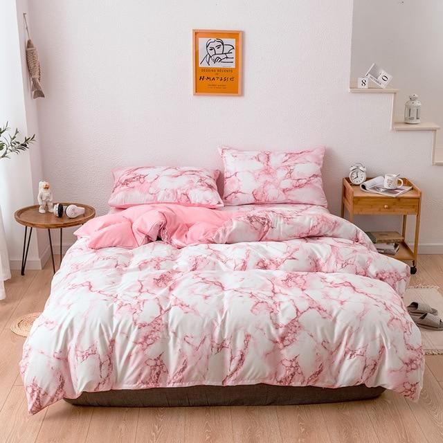 Bedding Set Marbled Pink on White