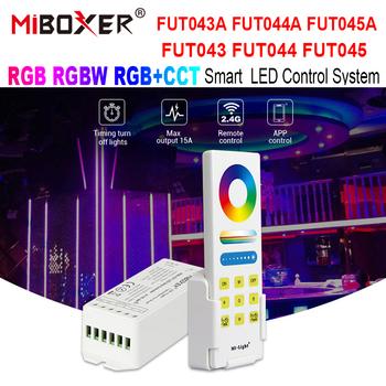 Miboxe FUT043 FUT044 FUT045 FUT043A FUT044A FUT045A RGB RGBW RGB + wtc funkcja kontroler LED inteligentna dioda LED System kontroli DC12V-24V tanie i dobre opinie WRMIHU CN (pochodzenie) Control System Kontroler RGB 2 YEARS RGB+CCT LED Strip Controller Smart 12-24 v