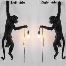 Monkey Lamp Resin Black White Gold Right Left Side Monkey Wall Light