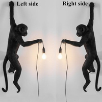 Monkey Lamp Resin Black White Gold Right Left Side Monkey Wall Light For bedroom lamp Retro Sconce wall lights Twins wall lamp