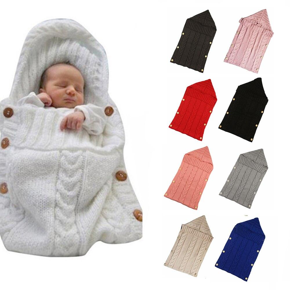 LOOZYKIT Warm Baby Blanket Soft Baby Sleeping Bag Footmuff Cotton Knitting Envelope Newborn Swadding Wrap Stroller Accessories