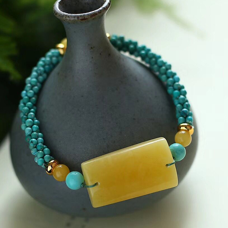 Fine JoursNeige Hand Woven Bracelets Blue Beads with Yellow Natural Stone Bracelets for Women Men Classic Fashion Jewelry - 4