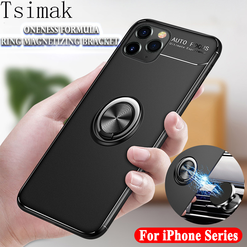 Silicone <font><b>Case</b></font> For <font><b>iPhone</b></font> 11 Pro Max XS XR X 8 <font><b>Plus</b></font> <font><b>7</b></font> 6s 6 5 5s SE 2020 Cover Shockproof <font><b>Ring</b></font> Magnetic Phone <font><b>Holder</b></font> Back Coque image