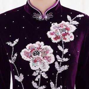 Image 4 - 2019 מיהרו Quinceanera 2020 סתיו חדש פרל נייל זהב קטיפה Cheongsam שמלת להראות אמא חתונה אמא בחוק באיכות נשים