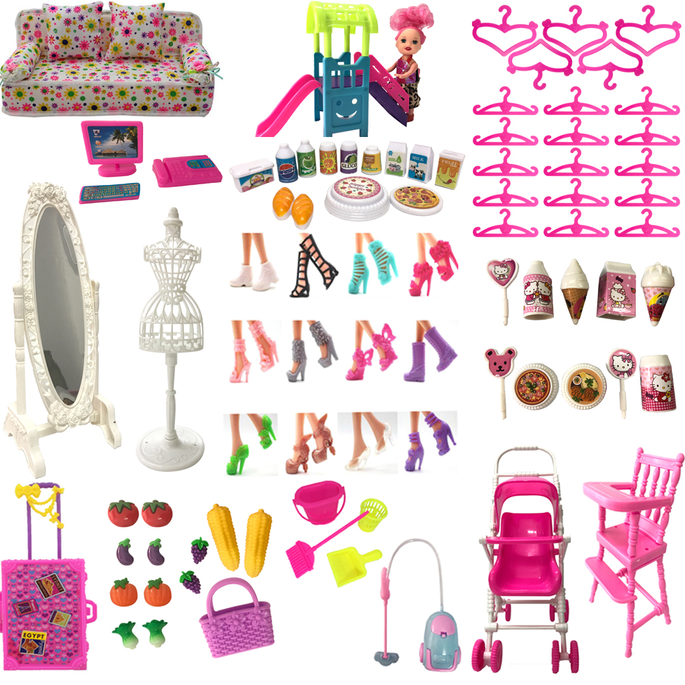 NK Hot Sale Doll Accessories Pretend Play Toy Shoes Bags Hangers Mirrors For Barbie Doll Furniture For Kelly Doll DIY Toys JJ