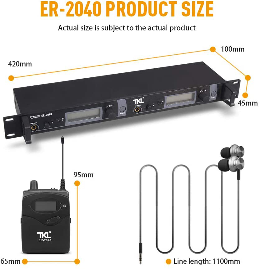 TKL ER-2040 In-ear Monitoring Professionelle True Diversity UHF in-Ear-Monitor System Dual Kanal Überwachung