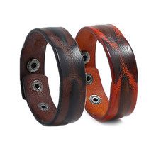 Vintage Flat Genuine Leather Men Bangle Brown Wide Wrap Bracelet Simple Bracelet Punk Jewelry For Men Women(China)