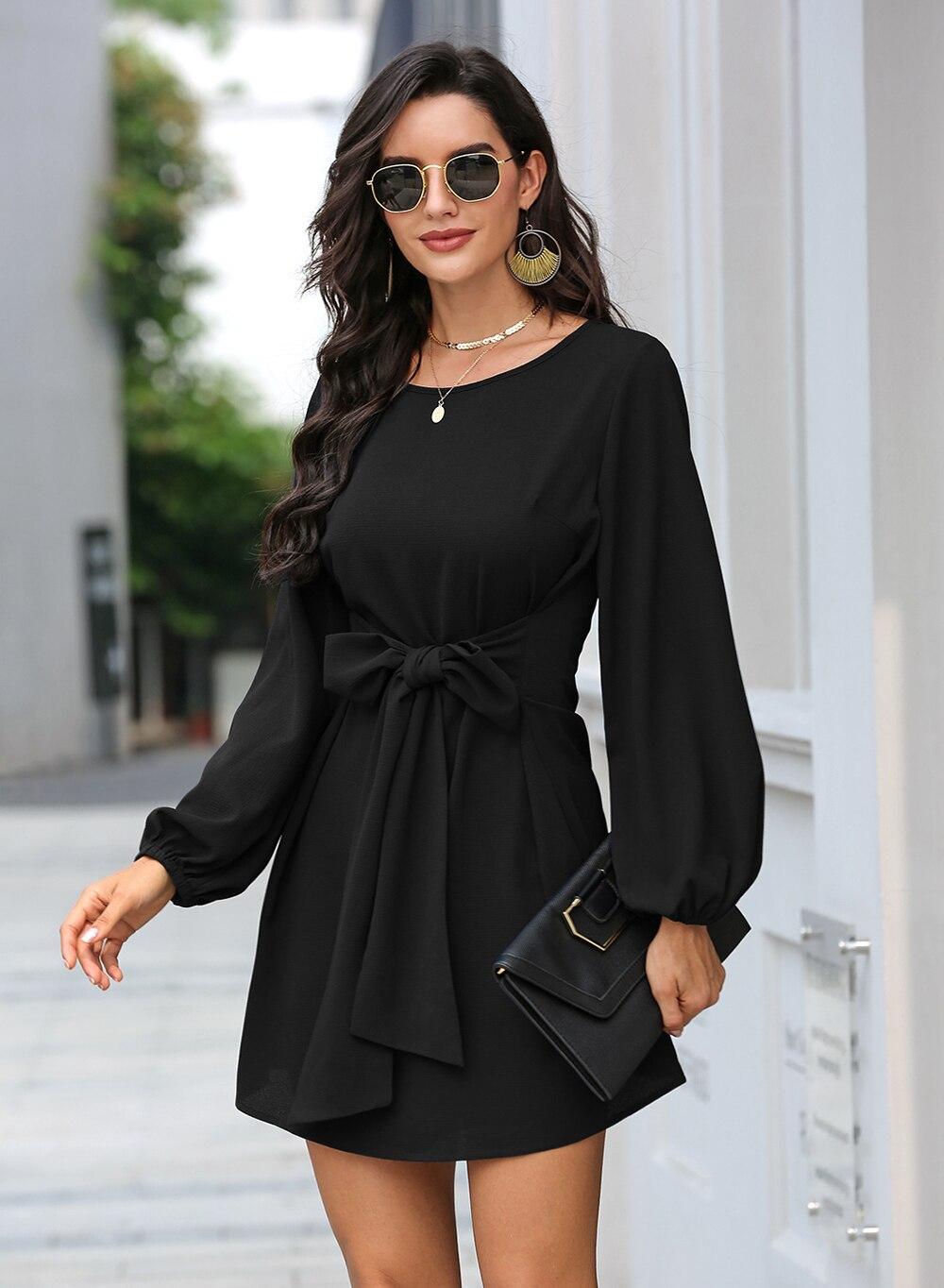 Black Lantern Sleeve Round Neck Casual Dress 21